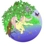 absurdres bird fish flowers fluttershy highres tree vulthuryol00 water