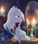 absurdres book candle equestria-prevails flowers highres hourglass mirror scroll starswirl_the_bearded