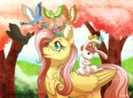 angel bird birds flower_crown flowers fluttershy inuhoshi-to-darkpen trees