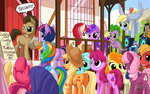 amethyst_star applejack berry_punch big_macintosh cello cheerilee clipboard fluttershy golden_harvest highres instrument lily_valley lyra_heartstrings main_six mysticalpha octavia_melody pinkie_pie princess_twilight rainbow_dash rarity rose_(pony) sign speaker spike sweetie_drops time_turner town_hall twilight_sparkle vinyl_scratch wedding
