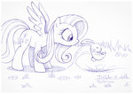 angel fluttershy hole sherwoodwhisper traditional_art