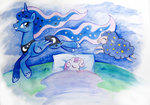 absurdres chimajra highres princess_luna sheep sleeping stars sweetie_belle traditional_art