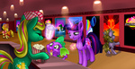 apple_bloom applejack dinky_hooves original_character sakuyamon spike twilight_sparkle watermark