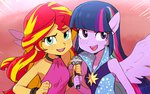 baekgup equestria_girls horse_ears humanized sunset_shimmer twilight_sparkle
