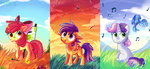 apple_bloom apples aurorie bird canvas cutie_mark_crusaders dragonfly easel paint paintbrush scootaloo singing sweetie_belle