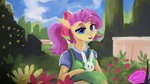 angel apron clothes flowers fluttershy garden hierozaki highres