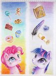 book bookmark cake feather highres ink lollipop moonlight-ki pinkie_pie quill scroll traditional_art twilight_sparkle