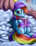book boots grennadder hat highres rainbow_dash scarf snow