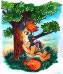 headphones highres original_character red-watercolor traditional_art tree
