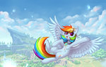 absurdres avrameow flowers flying highres rainbow_dash
