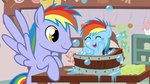 absurdres baby bath beavernator highres parents rainbow_dad rainbow_dash