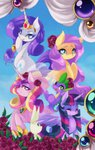angel flowers fluttershy princess_cadance princess_twilight rarity spike twilight_sparkle xazteiin
