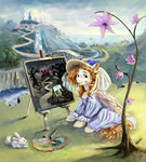 dress exclusionzone flowers hat highres original_character paint paintbrush painting rabbit recursion scenery xbi
