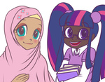 book fluttershy hijab humanized jun-k-tastic twilight_sparkle