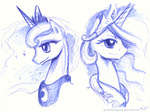 kp-shadowsquirrel portrait princess_celestia princess_luna sketch