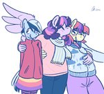 anthro kiss minuette moondancer polyamory rwlart scarf shipping twilight_sparkle