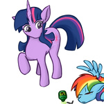 artist_unknown drunk rainbow_dash sleeping twilight_sparkle