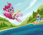 inner_tube kp-shadowsquirrel pinkie_pie rainbow_dash snorkel