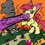 apple_bloom godzilla laser lily_valley megasweet on_fire ponyville