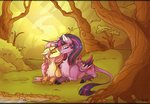 fluttershy forest highres kiss marbola princess_twilight shipping trees twilight_sparkle twishy