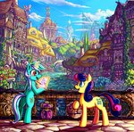 absurdres bird bridge flowers highres house jowybean lyra_heartstrings magic ponyville river scenery sweetie_drops tree trees water