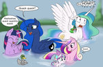 duck fly frog princess_cadance princess_celestia princess_flurry_heart princess_luna princess_twilight silfoe swimming text twilight_sparkle water
