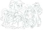 applejack dark-tsubaki88 fluttershy lineart main_six pinkamena_diane_pie pinkie_pie rainbow_dash rarity spike twilight_sparkle