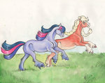applejack sagastuff94 traditional_art twilight_sparkle