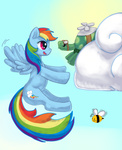 bees cloud flying_machine gtpanda rainbow_dash tank
