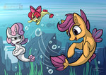 apple_bloom calenita cutie_mark_crusaders merponies scootaloo sweetie_belle underwater water