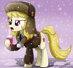 badge clothes coffee hat highres jacket snow snowing the-butch-x whinnyapolis_delegate winter