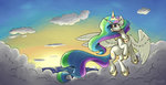 absurdres cloud flying highres princess_celestia silverhopexiii