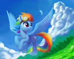 absurdres cloud draconidsmxz flying goggles highres rainbow_dash