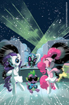 amy_mebberson dancing dress fluttershy gangnam_style glasses headphones pinkie_pie rarity spike sunglasses vinyl_scratch