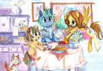 apron breakfast cat chair cup family filly flowers flying food highres magic original_character paulina-ap table teapot traditional_art