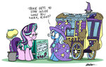 bobthedalek bucket car_wash highres kite magic mud sponge starlight_glimmer the_great_and_powerful_trixie wagon