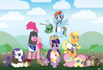 applejack armor bird boots crossover ferret fluttershy helmet main_six monty_python mouse pinkie_pie rainbow_dash rarity runicrhyme spike squirrel tank twilight_sparkle