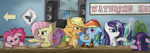 applejack bar beer berry_punch discordified drunk fluttershy lyra_heartstrings main_six pinkie_pie rainbow_dash rarity speccysy sweetie_drops twilight_sparkle vinyl_scratch