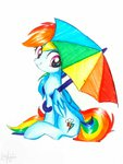 absurdres highres liaaqila rainbow_dash traditional_art umbrella