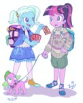 child dog equestria_girls humanized jowybean playing_card species_swap spike the_great_and_powerful_trixie twilight_sparkle
