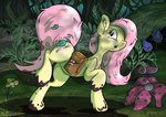 bag flowers fluttershy forest leaves mud rainihorn