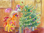 apple_bloom christmas christmas_tree cutie_mark_crusaders maytee present scootaloo sweetie_belle