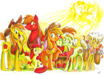 apple_bloom applejack apples big_macintosh braeburn bright_mac cat goldie_delicious granny_smith jowybean pear_butter traditional_art