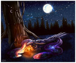 candle crazydragonqueen horselike moon nighttime princess_luna sleeping tree