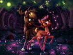 dancing deer flowers forest highres nighttime original_character sirzi trees