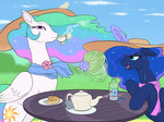fan gregan811 hat highres princess_celestia princess_luna tea_party teapot