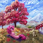 absurdres autumn flowers highres ioverd leaves pinkie_pie pound_cake pumpkin_cake trees