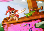 astalakio cannon gummy hat not_that_kind_of_shipping pinkie_pie pirate sword weapon