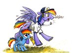 canterlothigh filly flag hat kenket parents rainbow_dad rainbow_dash shirt sophiecabra whistle