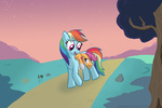 bandage naterrang rainbow_dash scootaffection scootaloo tears